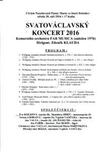 Praogram Svatováclavského koncertu 2016
