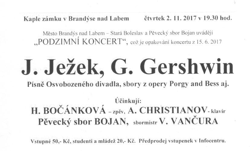 PODZIMNÍ KONCERTY V ČELÁKOVICÍCH A NA BRANDÝSKÉM ZÁMKU 1. A 2. LISTOPADU 2017